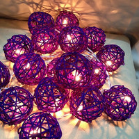 Dark Purple Rattan Ball String Light Wedding Fairy Light by Nisa33