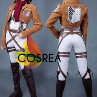 Attack On Titan Mikasa Ackerman Cosplay Costume With Suede Leather Survey Corp Jacket - Free Shipping