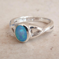 Opal Ring Sterling Silver Oval Stone Simple Plain Size 6 Vintage 011816YU