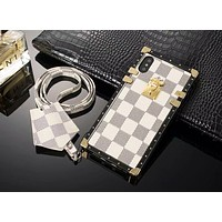 LV Louis Vuitton New fashion tartan leather print couple lanyard protective case phone case