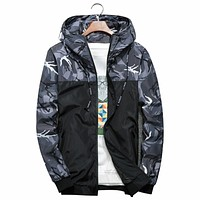 Men Bomber Jacket Thin Slim Long Sleeve Camouflage Military Jackets Hooded Windbreaker Zipper Outwear Army Brand Clothing