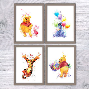 Winnie the Pooh and friends, Set of 4, Disney Watercolor, Eeyore, Tigger, Winnie the Pooh nursery, Baby shower Pooh, baby gift, Poster, V44