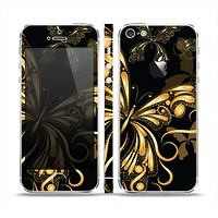 The Vibrant Gold Butterfly Outline Skin Set for the Apple iPhone 5