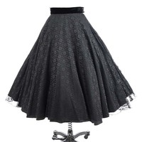 50s Black Lace Full Tea Length Swing Skirt
