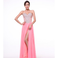 Salmon Pink Sequin Bodice Strapless Gown 2015 Prom Dresses