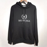 Balenciaga 2019 new wheat spike double B printing high quality hooded sweater black