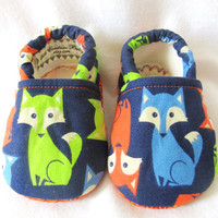 Little Piggies Baby Shoes- Orange, Blue, and Green Fox Baby Boy Shoes
