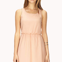 FOREVER 21 Elegant Fit & Flare Dress Seashell Pink Large