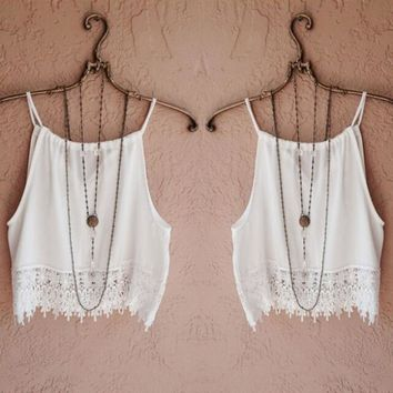 Fashion Sexy Women Lady Summer Lace Sleeveless Camisole Casual Crop Blouse Tops Shirt Y1