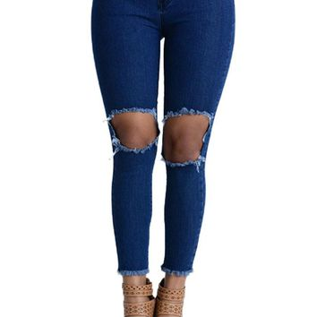 Women's Torn and Frayed Skinny Fit Jeans