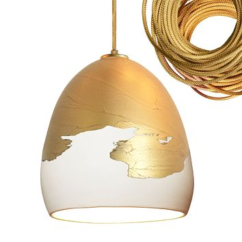 Matte White & Brass Ombre Porcelain Globe Pendant Light