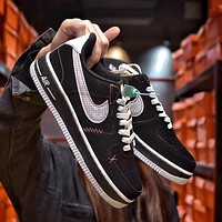 Nike Air force1 low retro black men's and women's thick sole sneakers Shoes