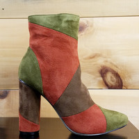 """Paw Rust Olive Patchwork Fabric Ankle Boot - 4"""" Cylinder Heels"""