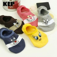 cute cartoon women causal cotton socks looney tunes comfortable tweety bunny wolf invisible socks no show socks dropshipping
