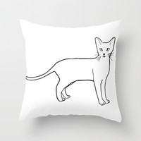 National Cat Day Kitty Throw Pillow by PoseManikin