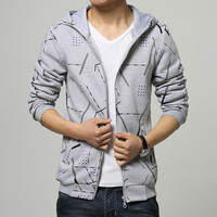 Mens Cool Lines Zip-Up Hoodie