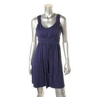 Style & Co. Womens Petites Gathered Sleeveless Casual Dress