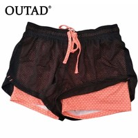OUTAD New Sports Womens Running Shorts 2 In 1 Running Tights Short Sports Exercise Fitness Leggings Gym Outdoor Female Trousers