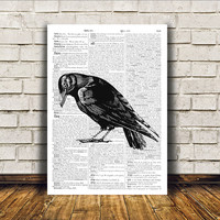 Raven poster Modern decor Dictionary print Bird art RTA95
