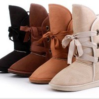 4 Colors Pick Women Winter Warm Lace Up Snow Boots Shoes 5 Size Shoes FREE Ship