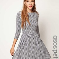 ASOS PETITE Exclusive Skater Dress In Geo Print at asos.com