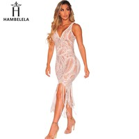 HAMBELELA Sexy See Through Lace Bodycon Dress Women V-Neck Strap Tassel Maxi Dress Summer Party Long Camis Dress Sexy Clubwear