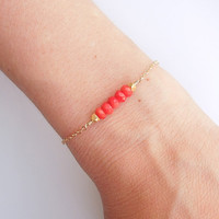 Coral Bracelet in Gold - Beaded Jewelry