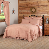 Sawyer Mill Red Ticking Stripe King Quilt Coverlet