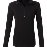 LE3NO Womens Casual Active Stand Collar Quarter Zip Up Pullover Top with Thumb Hole
