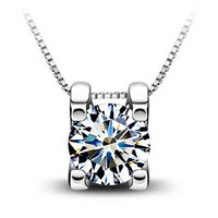 Silver Plated Women Bling Cubic Zirconia Pendant Necklace Chain Jewelry Sparkle