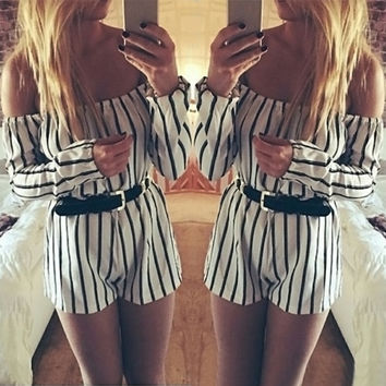 White Striped Slash Collar Long SLeeve Romper