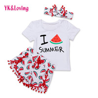 2017 Spring Baby Girl Clothes Sets Summer Outfits Hairand 3Pcs Short Sleeve Swing Top Shorts Clothing Set for Children 0-2Y A