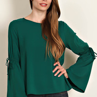 Scoop Neck Blouse with String Tied Bell Sleeve