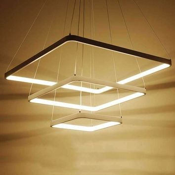 Modern LED Simple Pendant Lights Lamp For Living Room Cristal Lustre square Pendant Lights Pendant Hanging Ceiling Fixtures