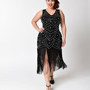 Unique Vintage Plus Size Black & Silver Beaded Mesh Isadora Fringe Flapper Dress