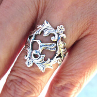 Hummingbird Ring, Adjustable flower ring, Sterling Silver Floral Leaf Ring Jewelry, Silver Bird Ring