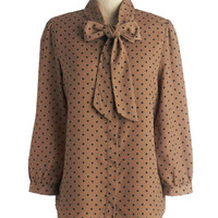 ModCloth Vintage Inspired Mid-length 3 Button Down Lash Before My Eyes Top in Black Dots