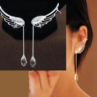 Angel's Wing Dangling Rhinestone Ear Clips | LilyFair Jewelry