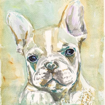 """Custom Pet Portrait Watercolor Painting from Picture 5x7  8x10  8""""x11""""  French Bulldog Dog Animal Photo Portrait Picture Painting"""