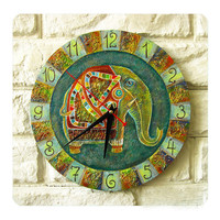 The Green Indian Elephant  Wall Clock by ArtClock on Etsy