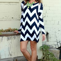 Navy Morning Chevron Print Long Sleeve Top