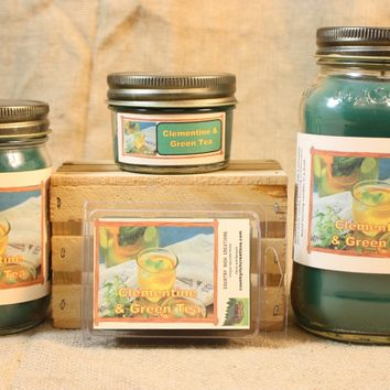 Clementine N Green Tea Candle, Scented Candles and Wax Melts, Highly Scented Beverage Candles and Wax Tarts, Refreshing Relaxing Scent