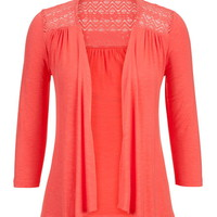 Lace Detail Open Front Cardigan