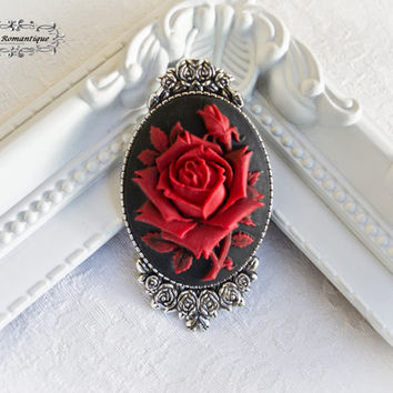 Antique silver black and red rose pin brooch-Victorian Gothic Brooch-Rose Brooch-30x40mm Brooch-Victorian Gothic Jewelry