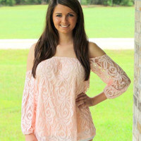 """""""Fancy Off the Shoulder"""" Lace Top in Peach"""