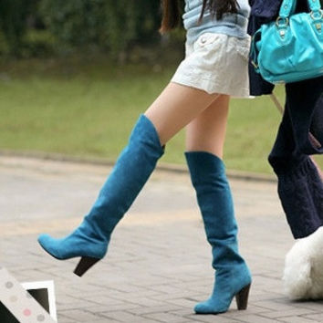 2015 Fashion Women Boots Shoes Black Suede High-heeled Knee Boots Knight Boots = 1946403268