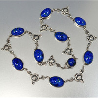 Sterling Silver Art Deco Necklace Egyptian Winged Snake Vintage 1920s Art Deco Jewelry Blue Glass