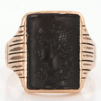 Antique Victorian 14 Karat Rose Gold Hardstone Mens Ring Vintage Estate Jewelry