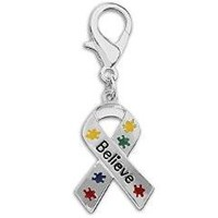 Puzzle Piece Ribbon Believe Hanging Charm for Autism Awareness