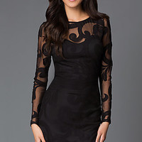 Short Black Embroidered Illusion Party Dress